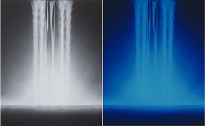 falling water<br/>[second image: under ultraviolet light] by hiroshi senju